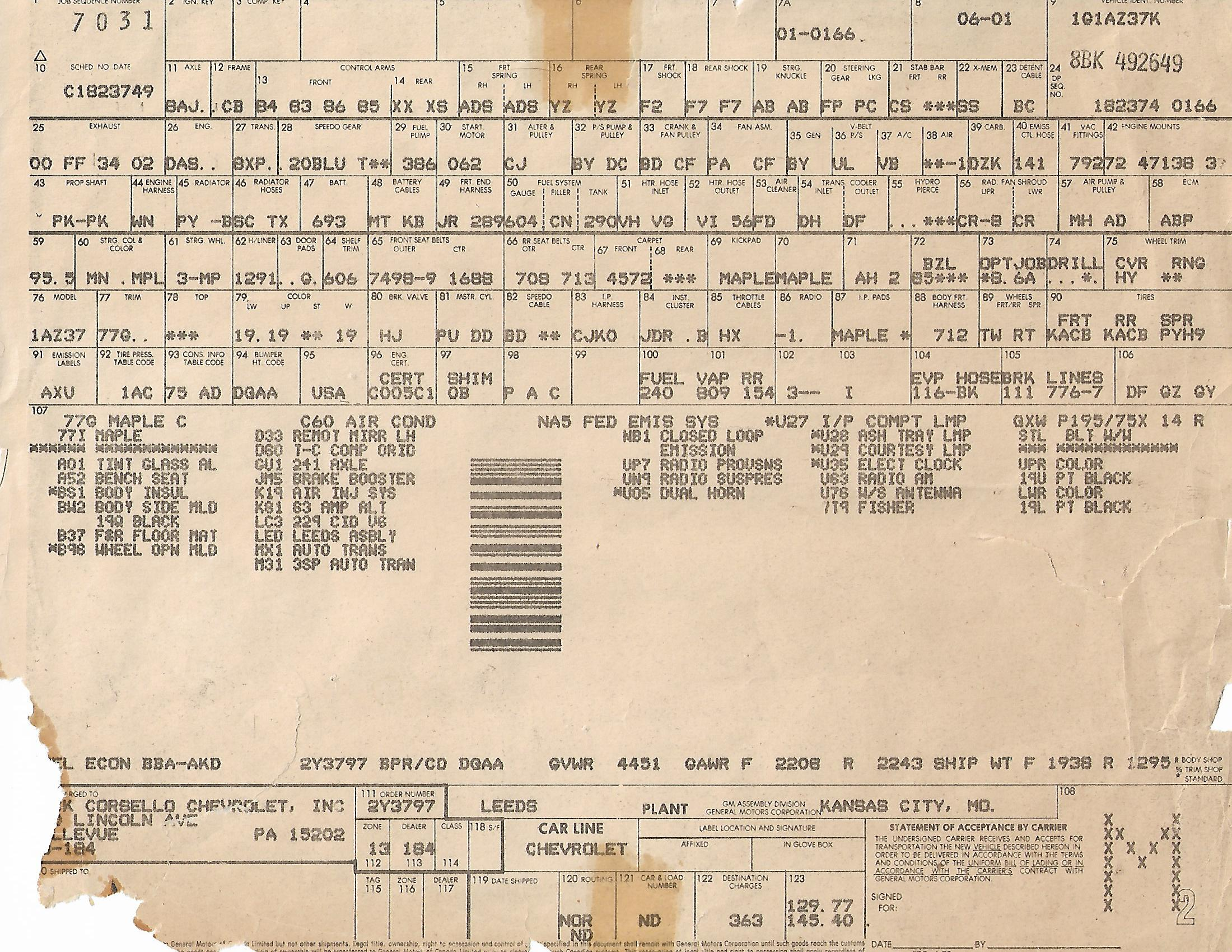 Your cars birth certificate the build sheet gbodyforum 78 1981 build sheet ag aiddatafo Gallery