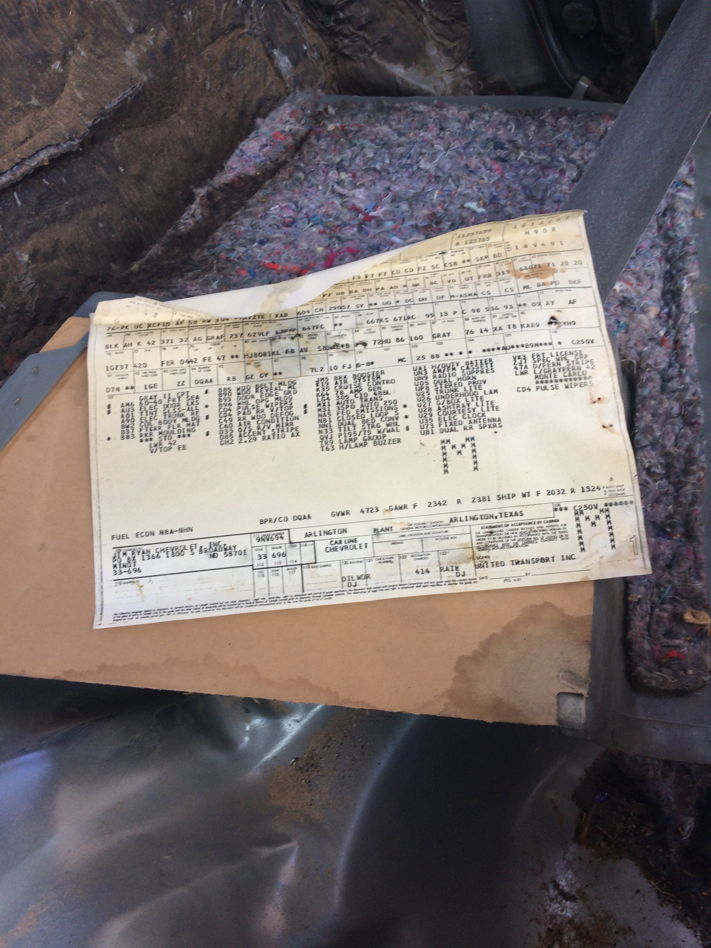 Your cars birth certificate the build sheet page 2 gbodyforum your cars birth certificate the build sheet page 2 gbodyforum 78 88 general motors ag body community chevrolet malibu monte carlo aiddatafo Choice Image