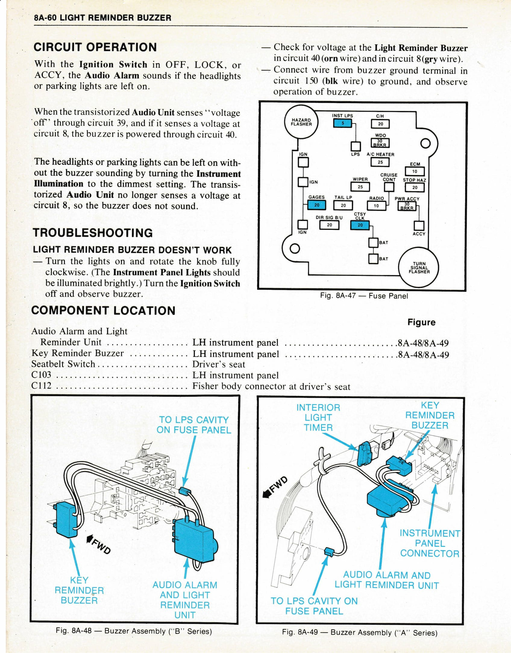 headlight warning chime gbodyforum '78 '88 general motors a g Residential Electrical Wiring Diagrams at edmiracle.co